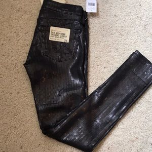 Ag Adriano Goldschmied Pants - NWT AG Jeans Black Sequin Mid-Rise Skinny Legging